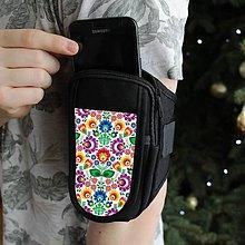 Na mobil - Púzdro na ruku -  farebné folk kvety - 9088733_