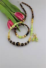 Luxusná súprava - náramok náhrdelník a náušnice nefrit, citrín, tigrie oko, striebro...