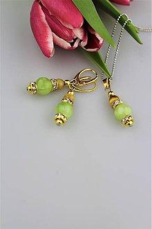 Sady šperkov - Nefrit a zlaté tigrie oko náušnice a prívesok - v striebre - 9090302_