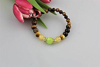 Náramky - Luxusný náramok striebro(pozlátené), tigrie oko, citrín, nefrit - 9090407_