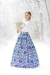 Sukne - slávnostná sukňa Modrý ornament  - 9090188_