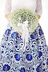 Sukne - slávnostná sukňa Modrý ornament - 9090189_
