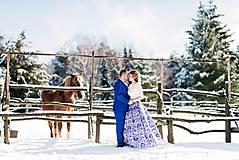 Sukne - slávnostná sukňa Modrý ornament - 9090190_