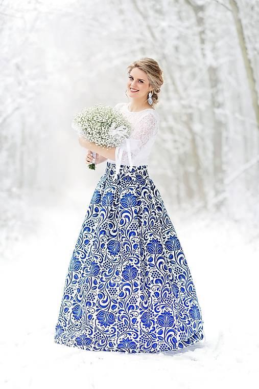 slávnostná sukňa Modrý ornament