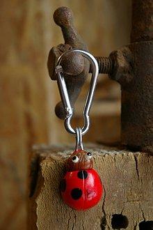 Kľúčenky - Kľúčenka LIENKA - lieskový orech - 9089156_