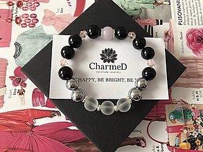 Náramky - Strieborný Onyxový náramok s Ruženinom / Silver bracelet with Onyx and Rose - 9087617_