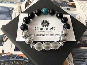 Náramky - Strieborný Onyxový náramok s Chryzokolom / Silver bracelet with Onyx and Chrysocolla - 9087635_