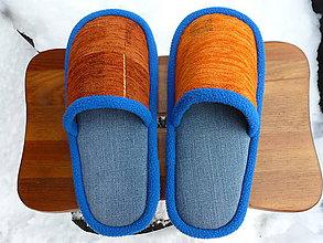 Obuv - Modré papuče s oranžovým vrchom - 9090337_