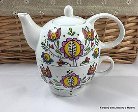 Nádoby - porcelánový čajník so šálkou Folklórny - 9089745_