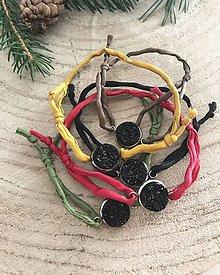 Náramky - Náramok z hodvábu s čiernym kamienkom - 9090555_