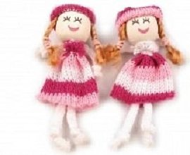 Iný materiál - Textilná bábika 8cm - ružová - 9088603_