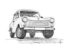 Iné - Trabant, kresba - originál - 9087785_