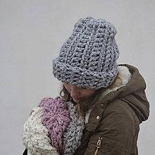 Čiapky - Snehuľa...šedá - 9089694_