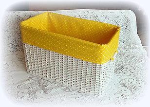 Košíky - Košík v žltom (47 x 26 výška 30 cm  - Žltá) - 9088405_