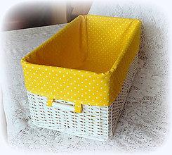 Košíky - Košík v žltom (47 x 26 výška 21 cm  - Žltá) - 9088412_