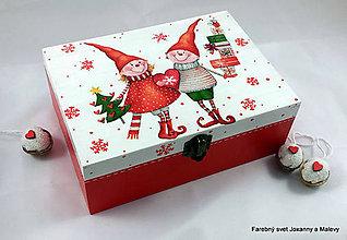Krabičky - krabička Vianočná so škriatkami - 9088947_