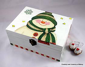Krabičky - vianočná krabica Snehuliačik - 9088956_