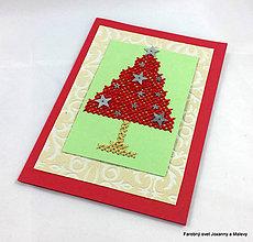 Papiernictvo - pozdrav Vianočný vyšívaný 3 - 9089197_