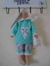 Bábiky - Šedo-mentolový anjelik na želanie - 9093400_