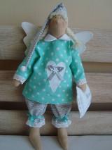 Bábiky - Šedo-mentolový anjelik na želanie - 9093402_