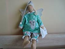 Bábiky - Šedo-mentolový anjelik na želanie - 9093412_
