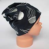 Detské čiapky - detská bavlnená čiapka (čierno-biela s medúzami) - 9094419_