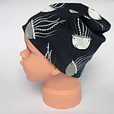 Detské čiapky - detská bavlnená čiapka (čierno-biela s medúzami) - 9094420_
