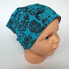 Detské čiapky - detská bavlnená čiapka (tyrkysová s lesnými zvieratkami) - 9093756_