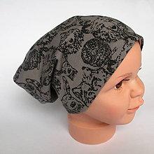 Detské čiapky - detská bavlnená čiapka (hnedá s lesnými zvieratkami) - 9093785_