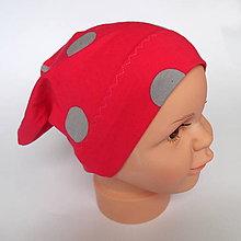 Detské čiapky - detská bavlnená čiapka  (červená dvojvrstvová) - 9093999_