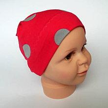 Detské čiapky - detská bavlnená čiapka  (červená jednovrstvová) - 9094021_