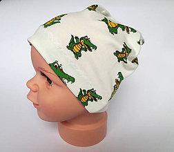 Detské čiapky - detská bavlnená čiapka (biela s krokodílmi) - 9094360_