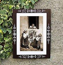 Rámiky - Maľovaný rámček - Folk  (21x30 - Bordová) - 9091821_