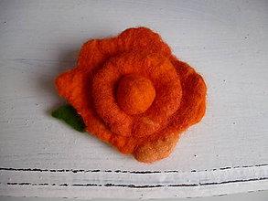 Odznaky/Brošne - plstená brošňa - orange - 9094108_