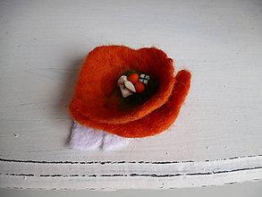 Odznaky/Brošne - plstená brošňa - oranžový balík - 9094189_