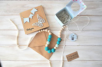 Náhrdelníky - sada, háčkovaný náhrdelník+pozdrav, v tyrkysovo-mentolovej kombinácii - 9095400_
