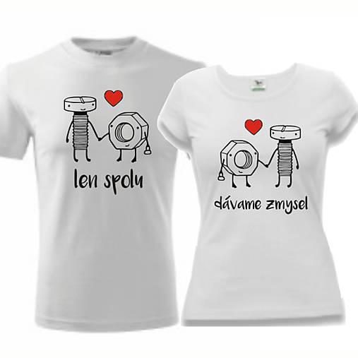e1de5a507 Len spolu dávame zmysel - tričká pre pár / ele-ele - SAShE.sk ...