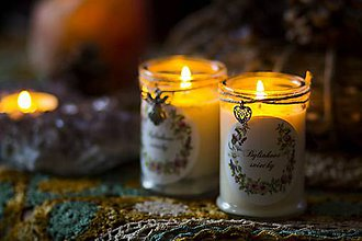 Svietidlá a sviečky - Bylinkové sviečky ♥ v skle (Bylinková sviečka - biela šalvia, céder) - 9092354_