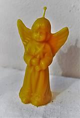 Svietidlá a sviečky - Sviečka z včelieho vosku veľký anjel - 9095414_