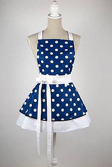 Iné oblečenie - ŠATOVÁ KUCHYNSKÁ ZÁSTERA RETRO CHIC BLUE WHITE DOTS - 9092603_