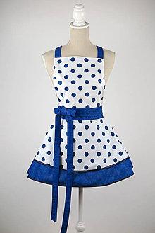 Iné oblečenie - ŠATOVÁ KUCHYNSKÁ ZÁSTERA RETRO WHITE BLUE DOTS - 9092675_