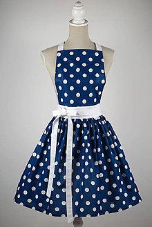 Iné oblečenie - ŠATOVÁ ZÁSTETA dlhá modrá biele veľké bodky - 9092686_