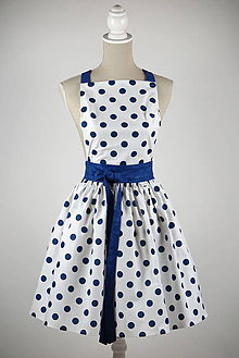 Iné oblečenie - ŠATOVÁ ZÁSTERA dlhá biela modré veľké bodky - 9092706_