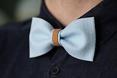 Doplnky - ľanový motýlik korkový - nebíčkovo modrý - 9092978_