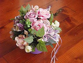 Dekorácie - Ružovo-fialková dekorácia v keramike - 9091410_