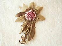 Odznaky/Brošne - Brošňa kožená, rozkvitne? - 9091184_