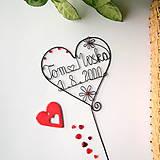 Dekorácie - svadobné srdiečko mladomanželom - 9099298_