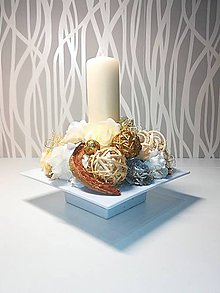 Svietidlá a sviečky - Dekorácia_svietnik_smotanovozlatá - 9099554_