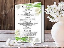Papiernictvo - Svadobné MENU s bielymi tulipánmi - 9099647_
