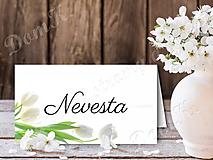 Papiernictvo - Menovky s bielymi tulipánmi - 9099697_